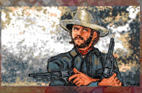 Roar Tjørhom with fantastic Deluxe Paint art of Clint Eastwood