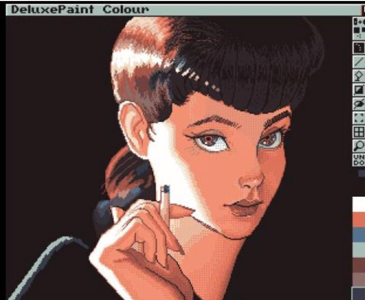 Pretty Lady drawn in Deluxe Paint