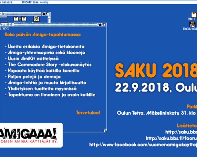 Saku 2018 Amiga User Group Event in Oulu Finland on 22nd September from 14.00 to Midnight